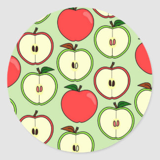 Green and Red Half Apple Print Classic Round Sticker