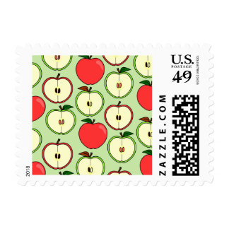 Green and Red Half Apple Print Postage