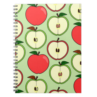 Green and Red Half Apple Print Spiral Notebook