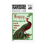 Green and Red Holiday Peacock and Holly Postage Stamps