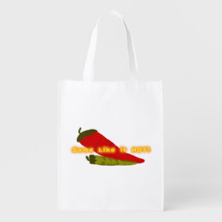 Green And Red Hot Chili Peppers Grocery Bag