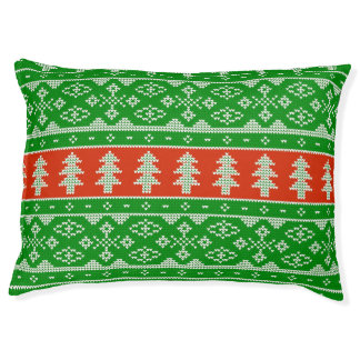 Green and Red Knit Sweater Dog Bed