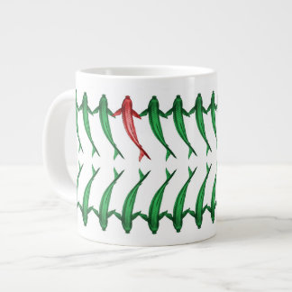 Green and Red Koi Fish Jumbo Mug 20 Oz Large Ceramic Coffee Mug