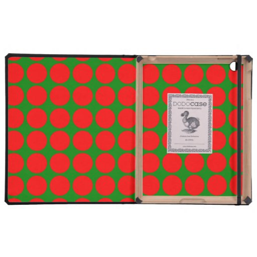 Green and Red Large Polka Dot Pattern Cover For iPad