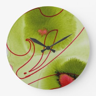 green and red large round clock