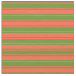 [ Thumbnail: Green and Red Lines Fabric ]