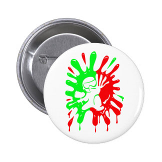 Green and Red Paintball Splatter and Mascot Button