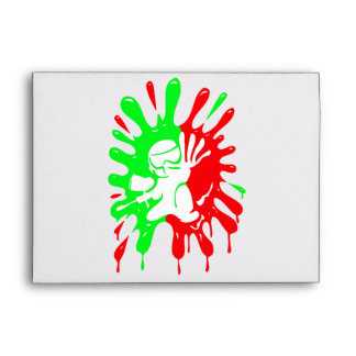 Green and Red Paintball Splatter and Mascot Envelope