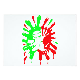 Green and Red Paintball Splatter and Mascot Images Card