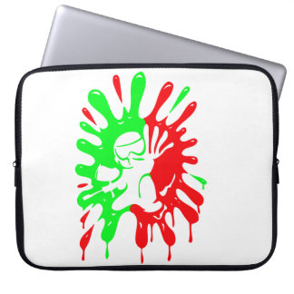 Green and Red Paintball Splatter and Mascot Laptop Sleeve