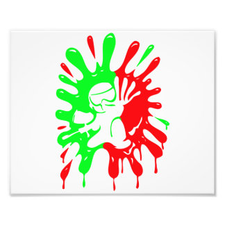 Green and Red Paintball Splatter and Mascot Photo Print