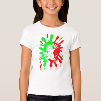 Green and Red Paintball Splatter and Mascot T-Shirt