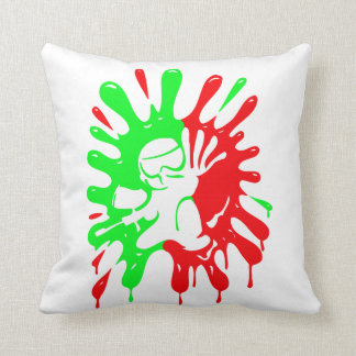 Green and Red Paintball Splatter and Mascot Throw Pillow