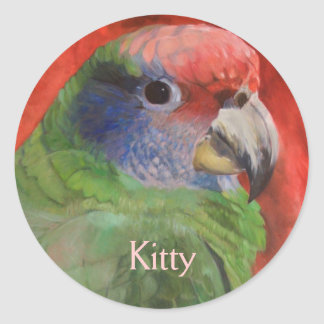 Green and Red Parrot Portrait Animal Art Classic Round Sticker