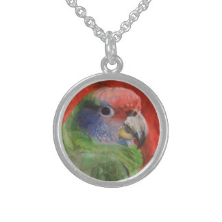 Green and Red Parrot Portrait Animal Art Jewelry