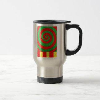Green and Red Pastel Spiral (naive pattern) Travel Mug