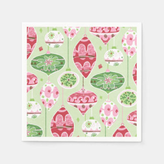 Green and Red Pattern of Retro Christmas Ornaments Disposable Napkin