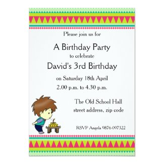 "Green and Red Pennant Birthday Invitation for Boys 5"" X 7"" Invitation Card"