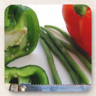 Green and Red Peppers with Beans Drink Coaster