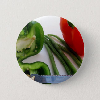 Green and Red Peppers with Beans Pinback Button