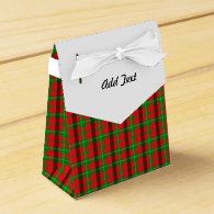 Green And Red Plaid Fabric Background Favor Boxes