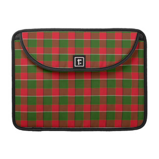Green And Red Plaid Fabric Background MacBook Pro Sleeve