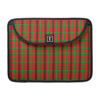 Green And Red Plaid Fabric Background Sleeve For MacBook Pro
