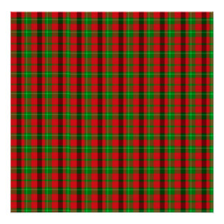 Green And Red Plaid Fabric Background Poster