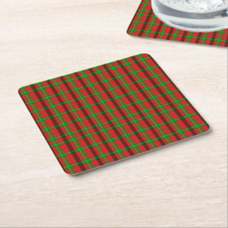 Green And Red Plaid Fabric Background Square Paper Coaster