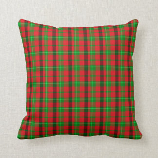 Green And Red Plaid Fabric Background Throw Pillow