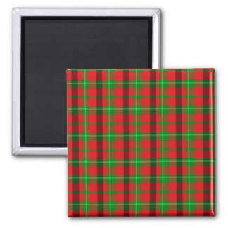 Green And Red Plaid Pattern 2 Inch Square Magnet