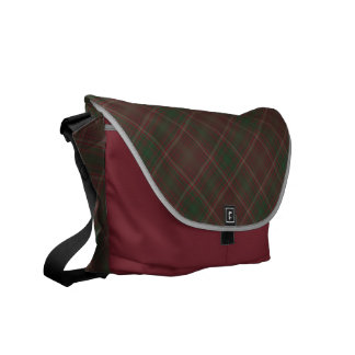 Green and Red Plaid Patterned Messenger Bag