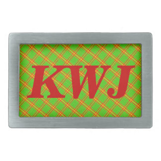 Green and Red Plaid Stripe Fabric Design Rectangular Belt Buckle