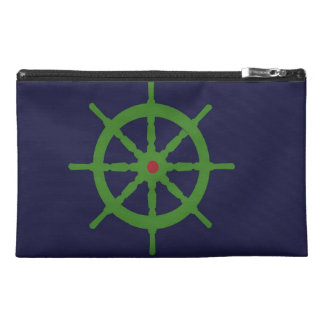 Green and red ship s wheel travel accessory bags