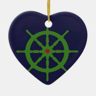 Green and red ship's wheel. ceramic ornament