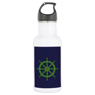 Green and red ship's wheel. water bottle