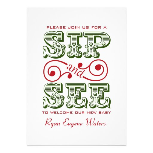 Green And Red Sip And See Visit Our New Baby Custom Invites