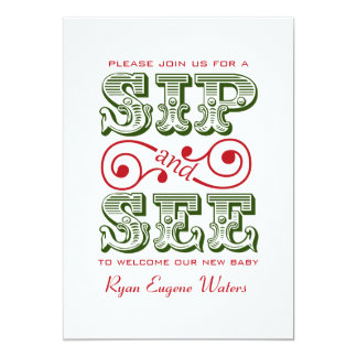 """Green And Red Sip And See Visit Our New Baby 5"""" X 7"""" Invitation Card"""