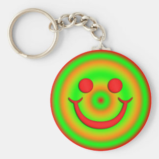 GREEN AND RED SMILEY FACE KEYCHAIN