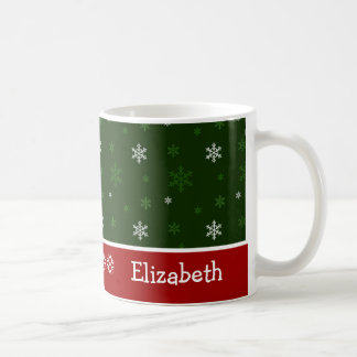 Green and Red Snowflake Personalized Christmas Mug