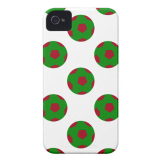 Green and Red Soccer Ball Pattern iPhone 4 Case