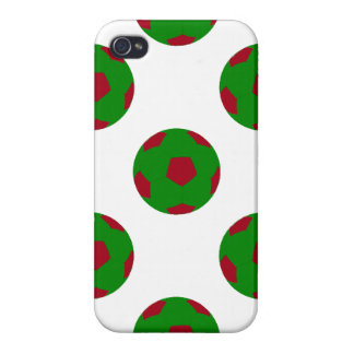 Green and Red Soccer Ball Pattern iPhone 4 Cases