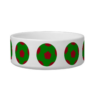 Green and Red Soccer Ball Pattern Cat Bowl