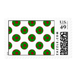Green and Red Soccer Ball Pattern Postage