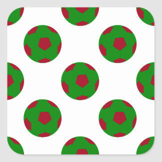 Green and Red Soccer Ball Pattern Square Sticker