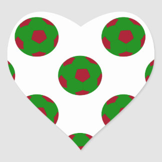 Green and Red Soccer Ball Pattern Heart Sticker
