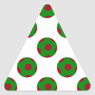 Green and Red Soccer Ball Pattern Triangle Sticker