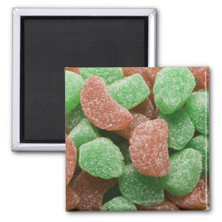Green and red sugared candies 2 inch square magnet