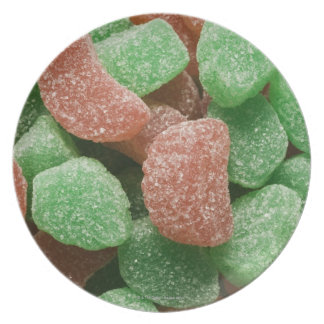 Green and red sugared candies dinner plate