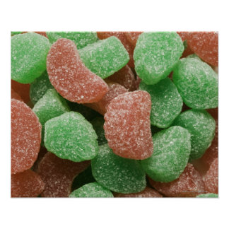 Green and red sugared candies poster